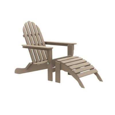 Icon Weathered Wood 2-Piece Folding Recycled Plastic Adirondack Chair