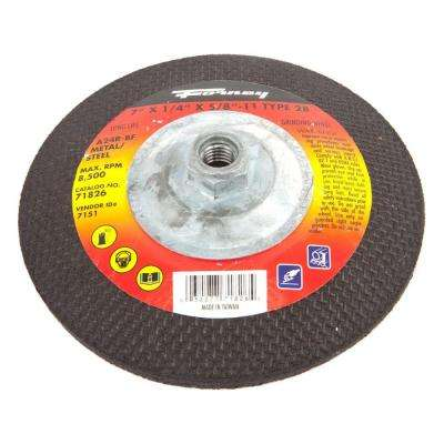 7 in. x 1/4 in. x 5/8 in.-11 Threaded Metal Type 28 Grinding Wheel