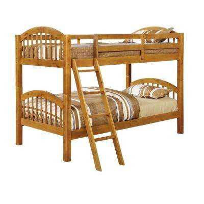 Beth Honey Wood Twin over Twin Country Style Convertible Bunk Bed