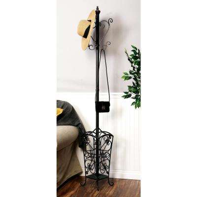 74 in. Classic Vintage Open Scroll Standing Iron Coat Rack