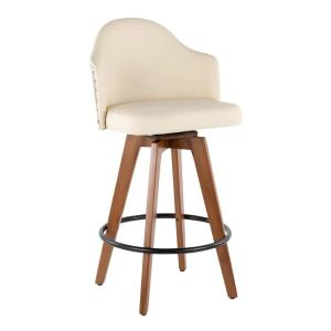 Excellent Lumisource Ahoy 26 In Walnut And Cream Faux Leather Counter Uwap Interior Chair Design Uwaporg