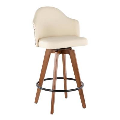 Ahoy 26 in. Walnut and Cream Faux Leather Counter Stool with Nailhead Trim