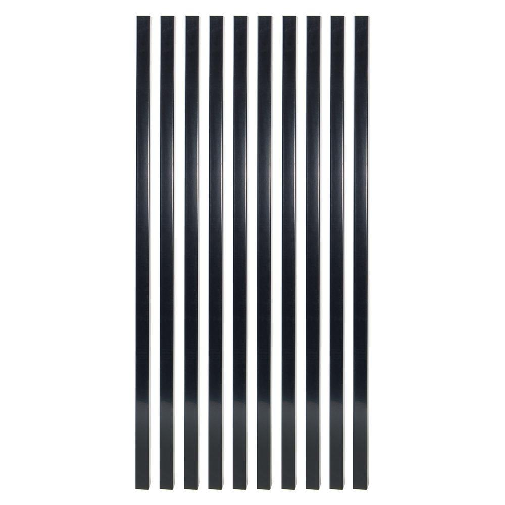 26 in. x 3/4 in. Gloss Black Steel Square Deck Railing