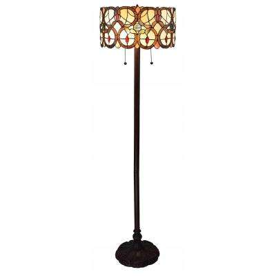 63 in. Multi-Colored Tiffany Style Double Light Floor Lamp