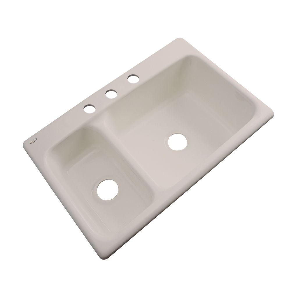 Thermocast Wyndham Drop-In Acrylic 33 in. 3-Hole Double Bowl Kitchen Sink in Shell