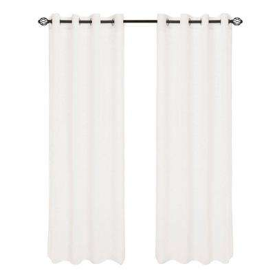 White Mia Jacquard Grommet Curtain Panel, 108 in. Length