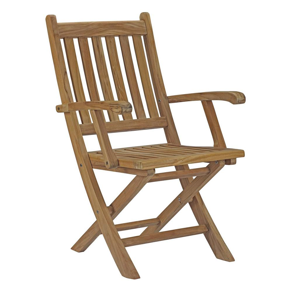 Marina Patio Folding Teak Outdoor Dining Chair in Natural
