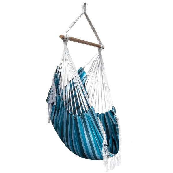 Vivere 2 5 Ft Brazilian Style Cotton Hammock Chair In Blue Lagoon B534 The Home Depot