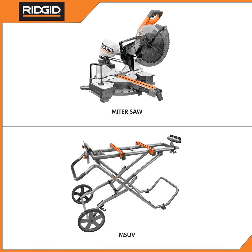 RIDGID Miter Saw Stand Universal Mounting Braces Upright Folding Design Portable