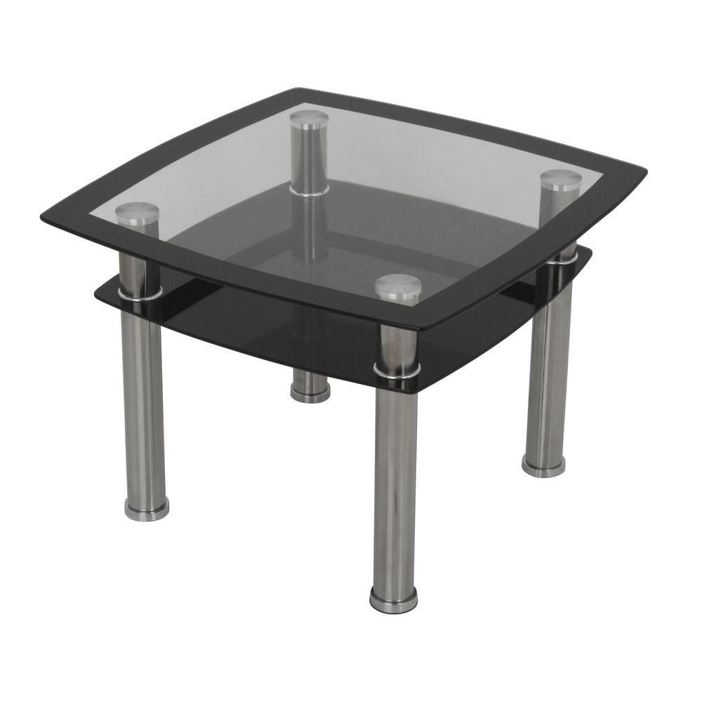 Avf Black Gl And Chrome Side Lamp End Table