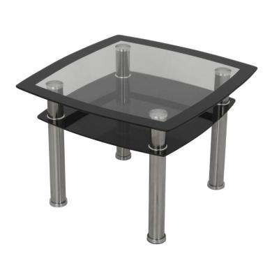 Black Glass and Chrome Side and Lamp End Table