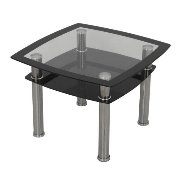 Black Gl And Chrome Side Lamp End Table