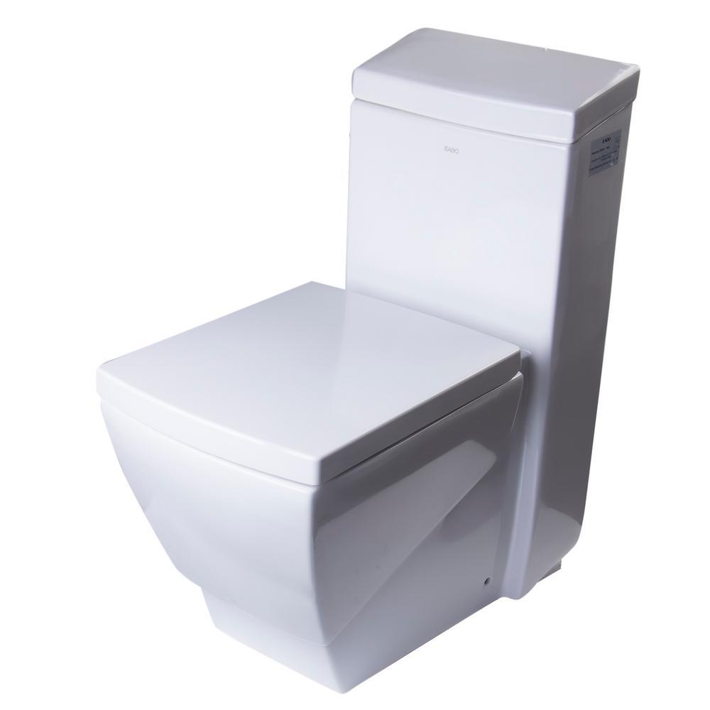 1-Piece 1.28 GPF Single Flush Elongated Toilet in White