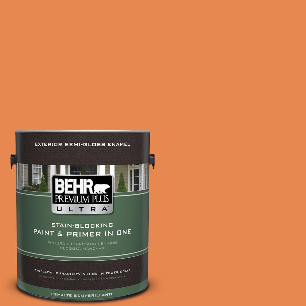 BEHR Premium Plus Ultra 1-gal. #P210-6 Mandarin Semi-Gloss Enamel Exterior Paint