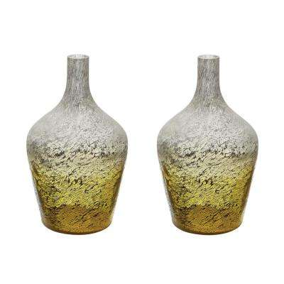 Ombre 6 in. x 6 in. Lemon Glass Decorative Bottle (Set of 2)