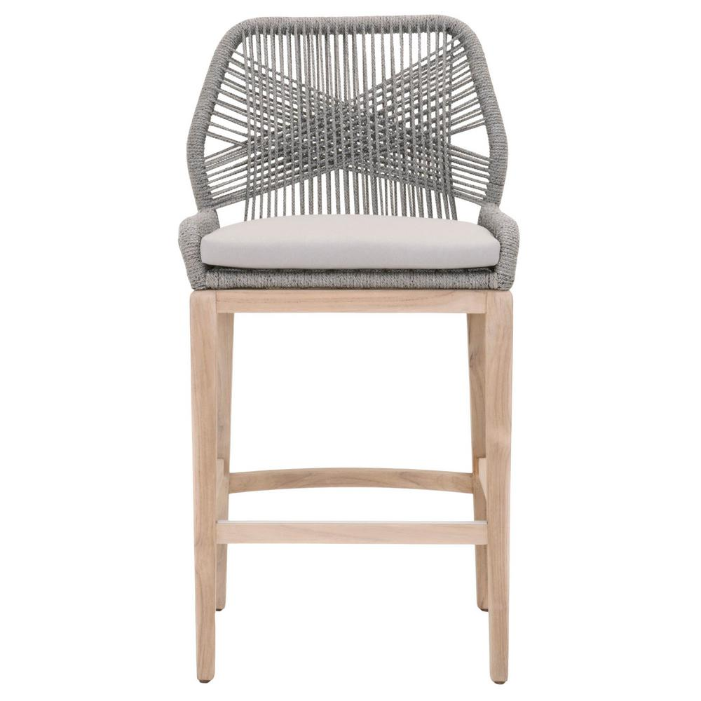 Orient Express Furniture Loom 30 In Platinum Rope Gray Teak Outdoor Bar Stool 6808bs Pla Sgry Gt The Home Depot