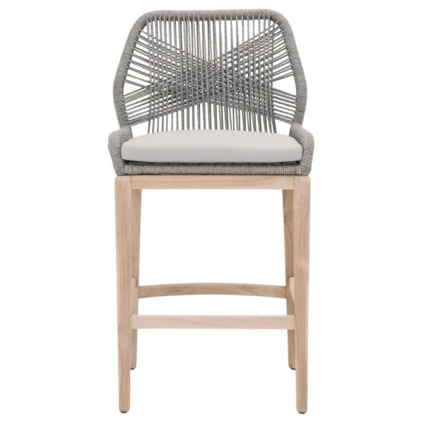4559f2f21a6a Orient Express Furniture Loom 30 in. Platinum Rope, Gray Teak Outdoor Bar  Stool
