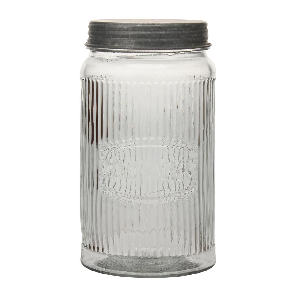 Stonebriar Collection Clear Pressed Gl Cookie Jar With Galvanized Lid