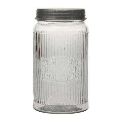 Clear Pressed Glass Cookie Jar with Galvanized Lid