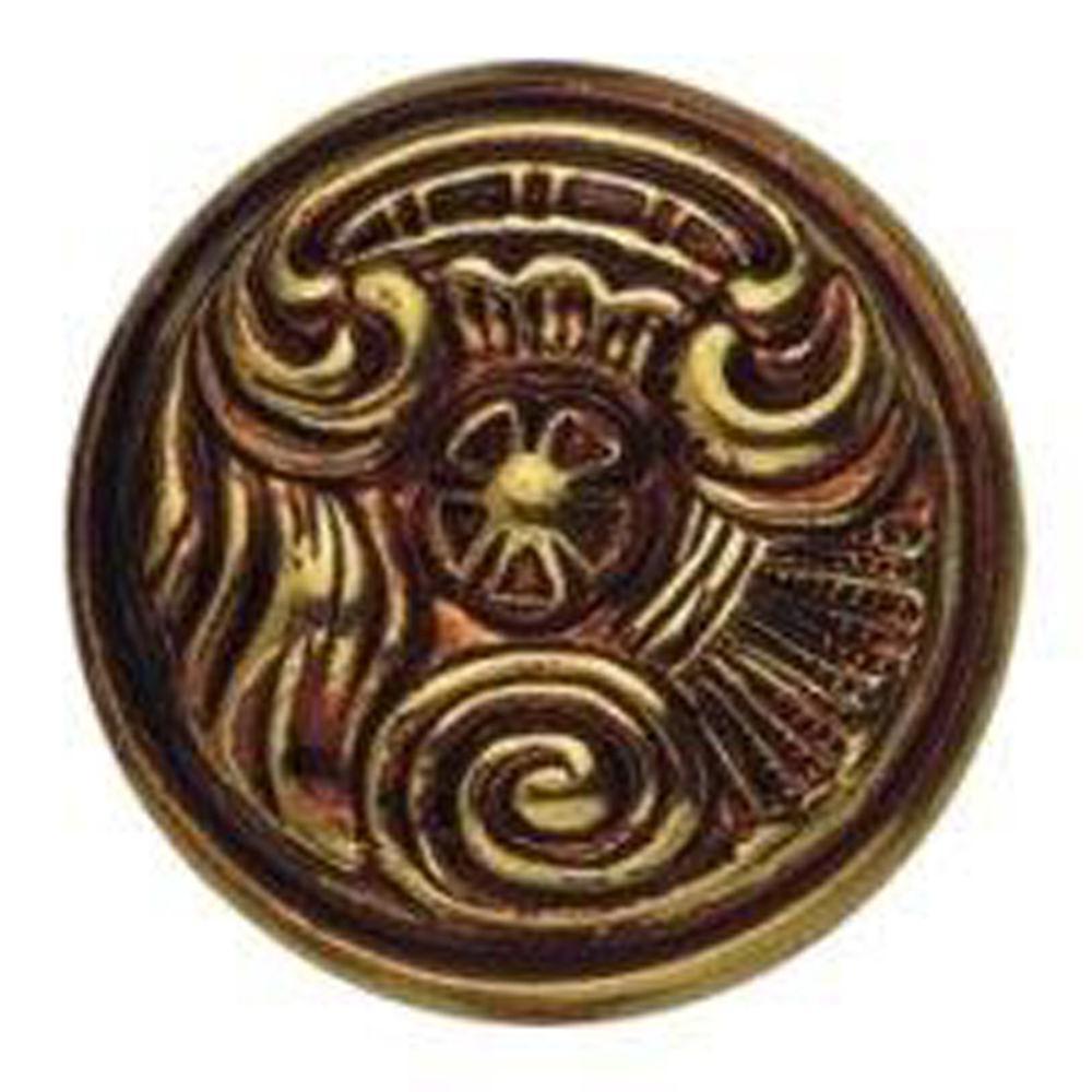 0.98 in. Antique Brass Dark Round Knob