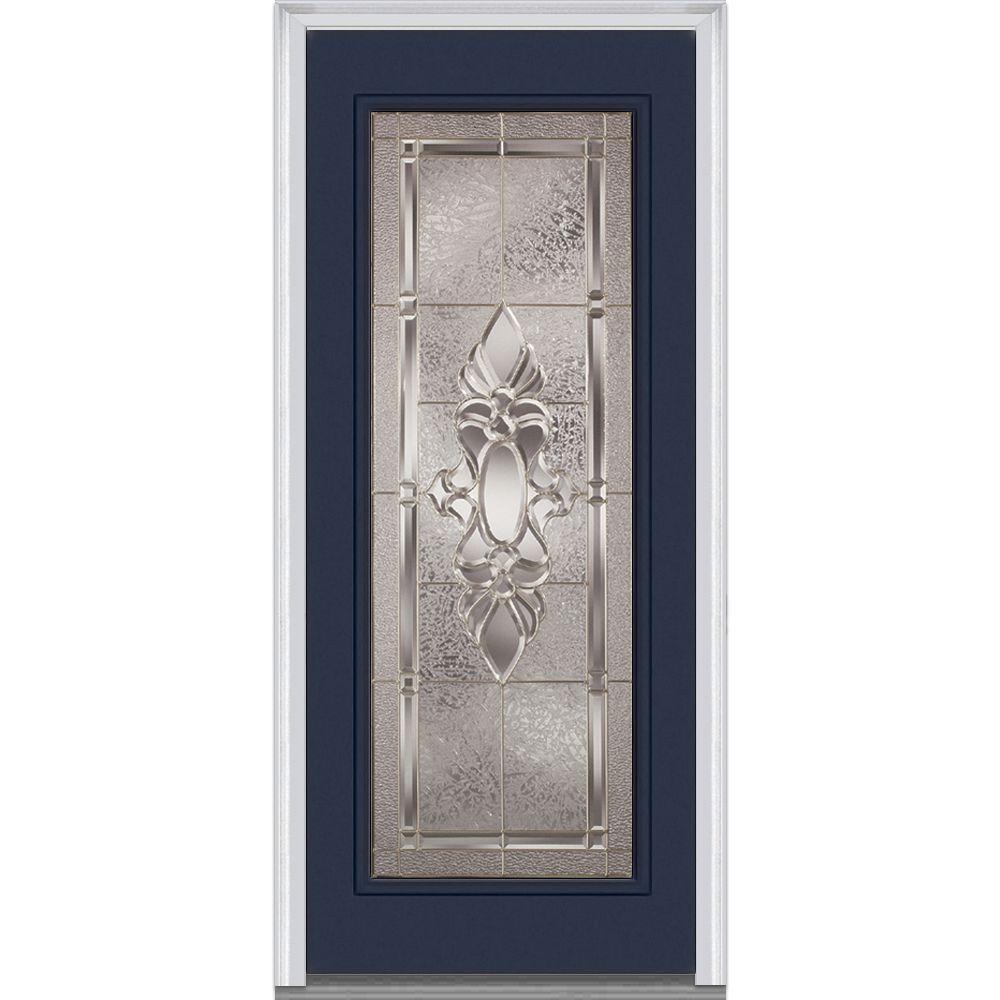 32 in. x 80 in. Heirloom Master Right-Hand Inswing Full Lite Decorative Painted Steel Prehung Front Door
