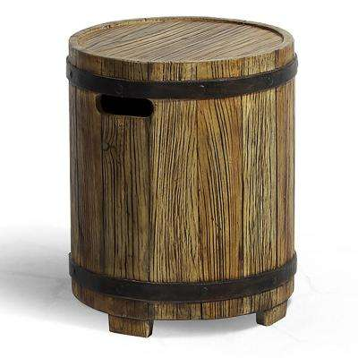 Barrel Brown Round Stone Outdoor Side Table