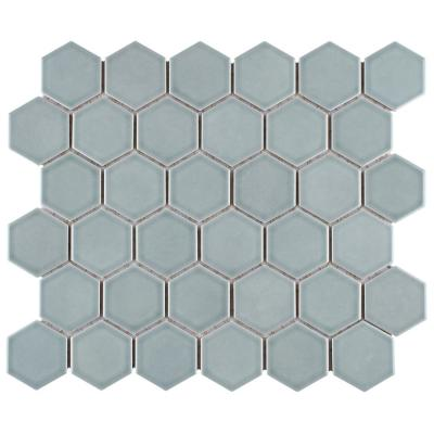 Merola Tile Tribeca 2 In Hex Glossy 12 5 8 In X 10 5 8 In Mist Porcelain Mosaic 9 96 Sq Ft Case Ftc2trgmst The Home Depot