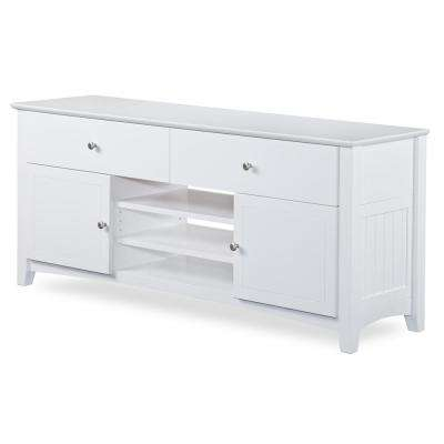 Nantucket 2-Drawer 26 in. x 60 in. White TV Table with Adjustable Shelves