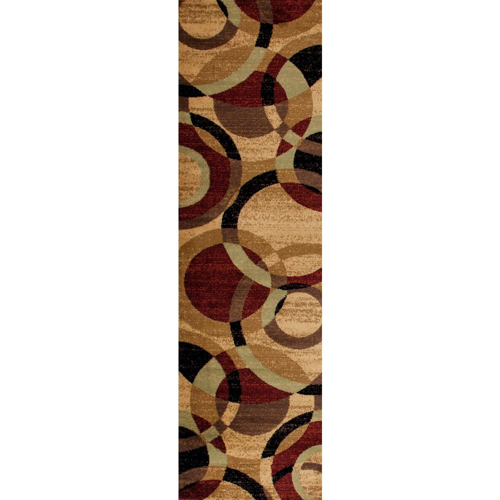 Contemporary Modern Circles Multi Area Rug Abstract 2 ft. x 7