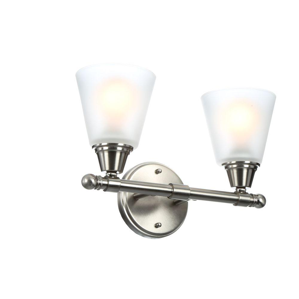 Hampton Bay 2 Light Brushed Nickel Vanity Light With Frosted White Glass Shades Gjk1392a 2 Bn