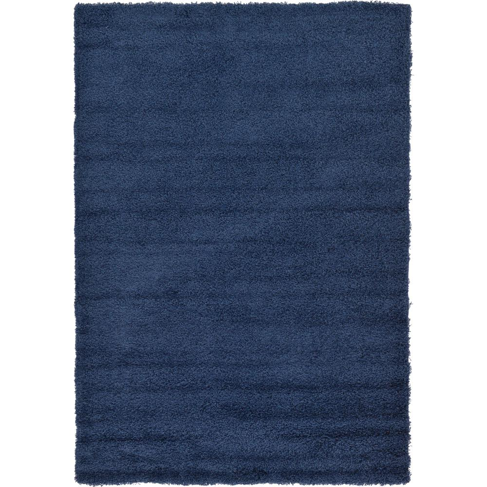 Unique Loom Solid Shag Navy Blue 6 Ft X 9 Ft Area Rug