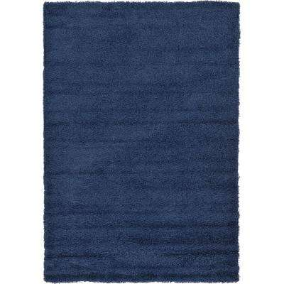 Solid Shag Navy Blue 6 ft. x 9 ft. Area Rug