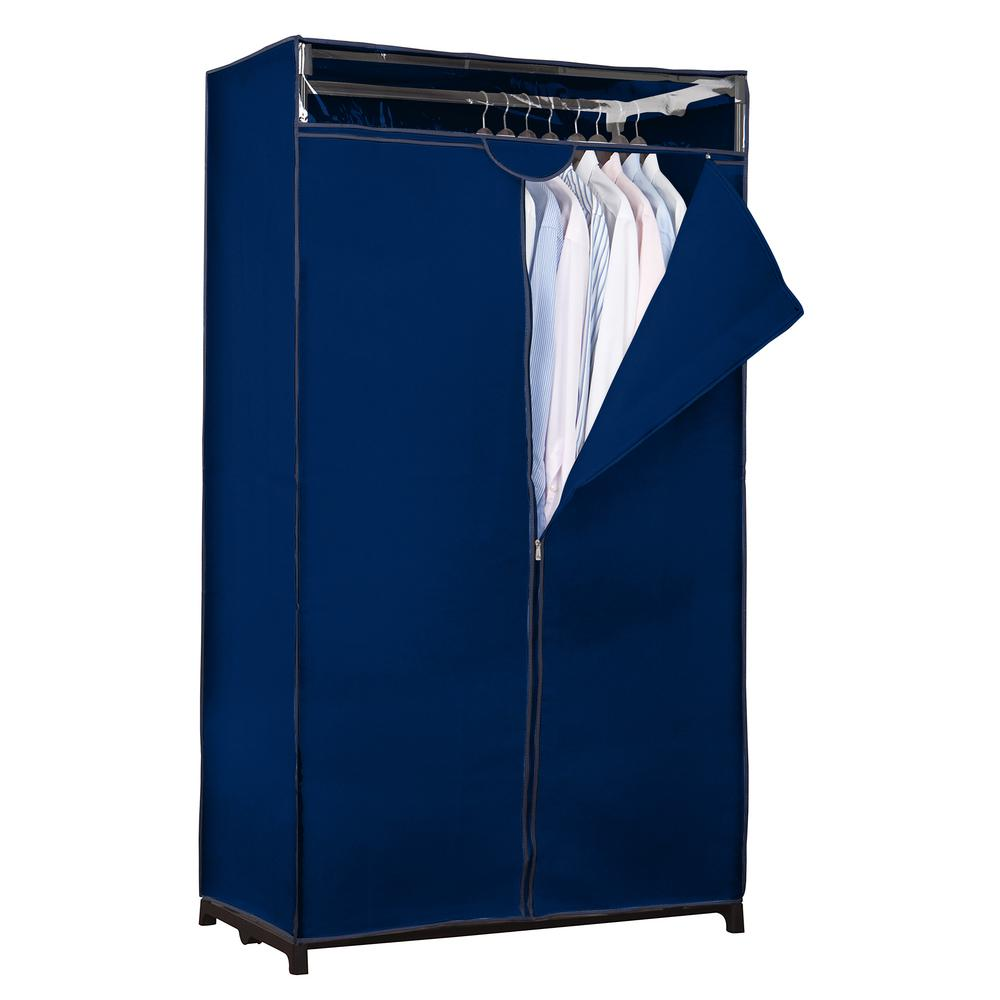 36 in. D x 63 in. H x 19 in. W Navy Portable Closet, Blue