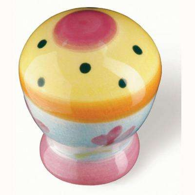 Botanico 1-1/16 in. Pink/Yellow Cabinet Knob