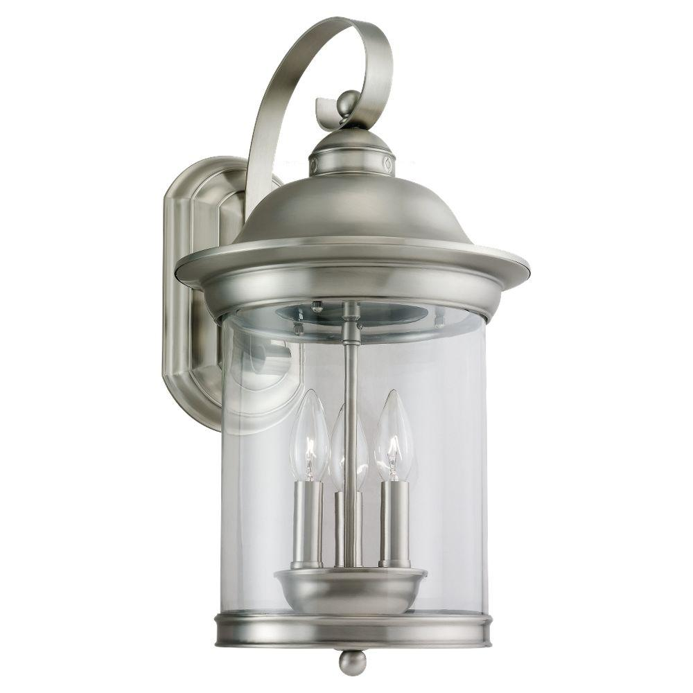 Hermitage 3-Light Outdoor Antique Brushed Nickel Wall Mount Fixture