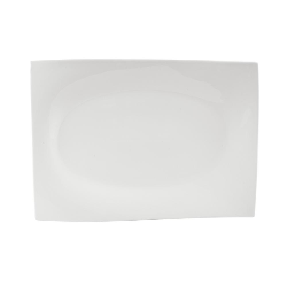 White Basics Porcelain Motion Rectangular Platter