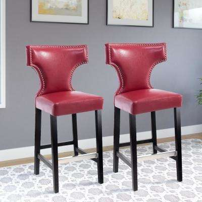 Red Bonded Leather Bar Stool Set Of 2
