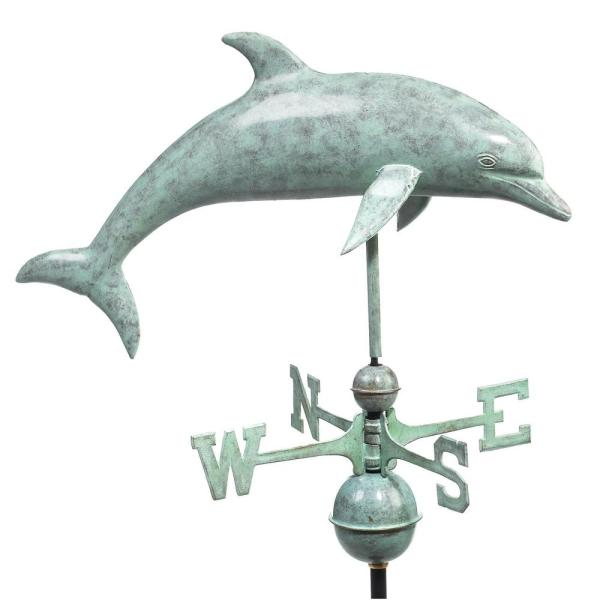Dolphin Weathervane - Blue Verde Copper