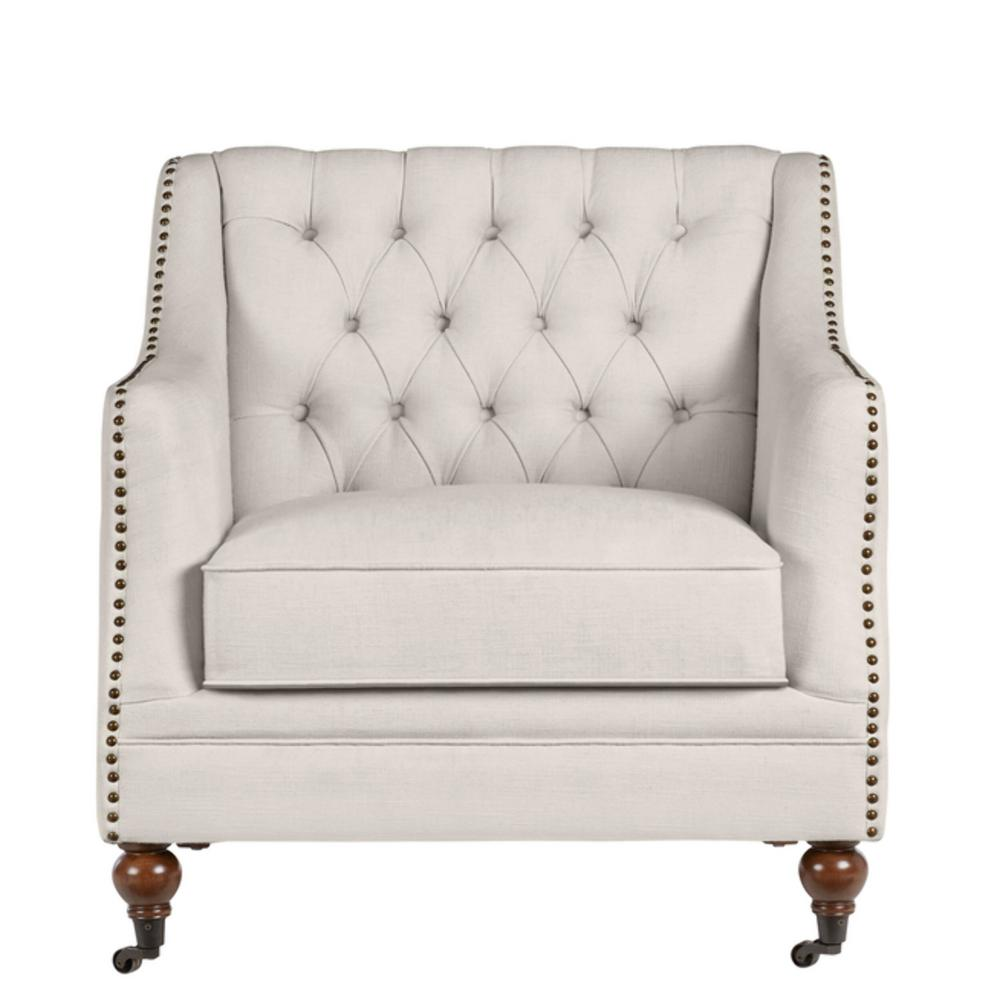 Kennison Evere Ivory Wood Accent Chair with  Tufting and Nailhead Trim (32.68 in. W x 32.28 in. H)