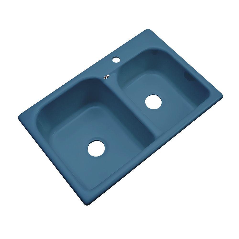 Cambridge Drop-In Acrylic 33 in. 1-Hole Double Basin Kitchen Sink in Rhapsody Blue