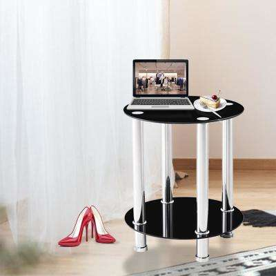Multi-Functional Black Tempered Glass Side Table