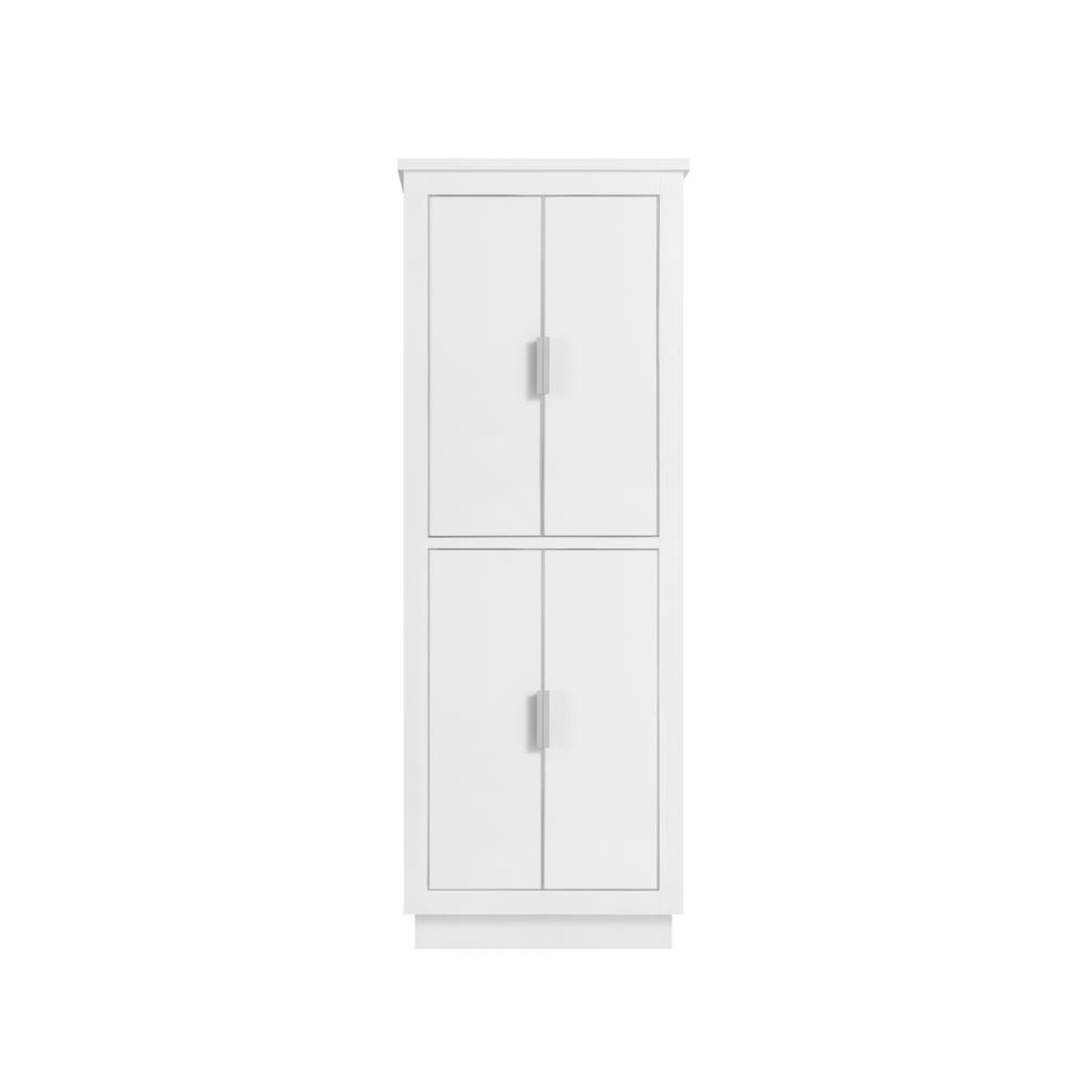 Allie 24 in. W x 16 in. D x 65 in. H Floor Cabinet in White with Silver Trim