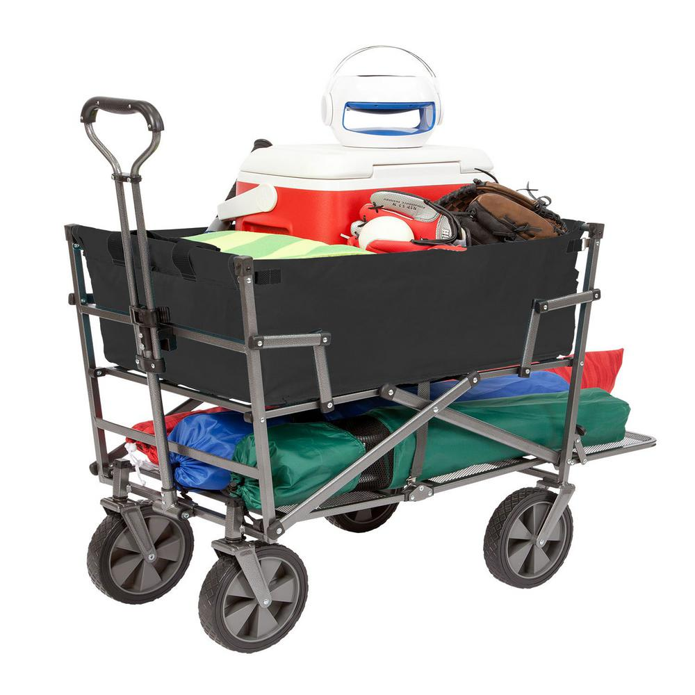 Mac Sports Heavy-Duty Steel Double Decker Collapsible Yard Cart Wagon, Black