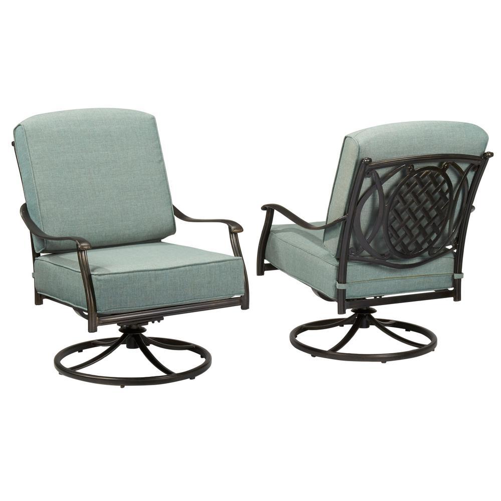 belcourt swivel rocking metal outdoor lounge chair with spa cushions 2pack hampton bay - Hampton Bay Outdoor Furniture