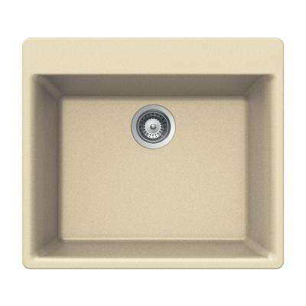 Quartztone Drop-In Composite Granite 24 in. 1-Hole Single Bowl Kitchen Sink in Sand
