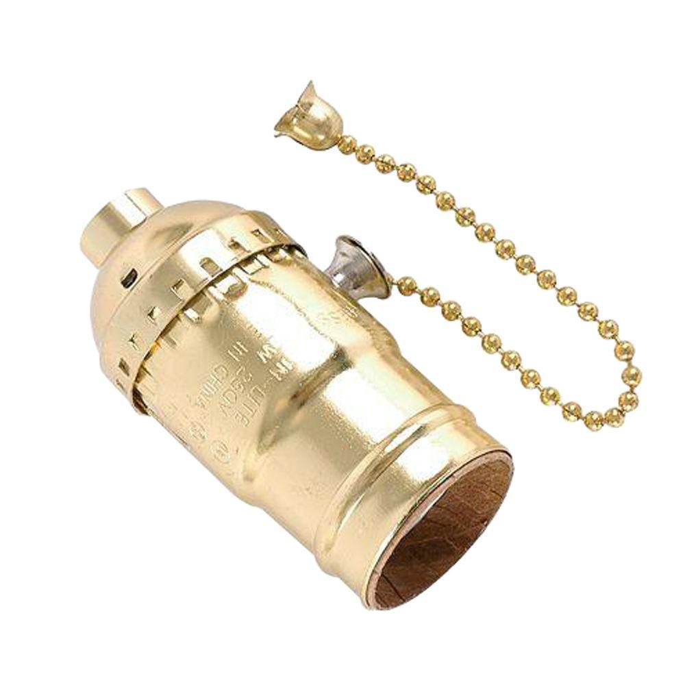 Pull Chain Brass Lamp Socket Housing - Aluminum