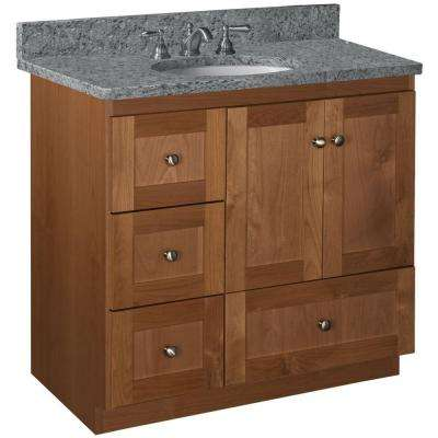 Shaker 36 in. W x 21 in. D x 34.5 in. H Vanity with Left Drawers Cabinet Only in Medium Alder