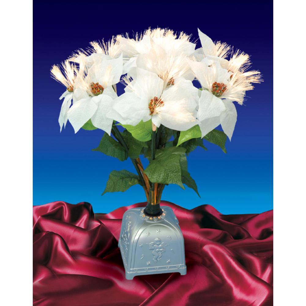 20 in. Pre-Lit Poinsettia Fiber Optic White Artificial Christmas Plant