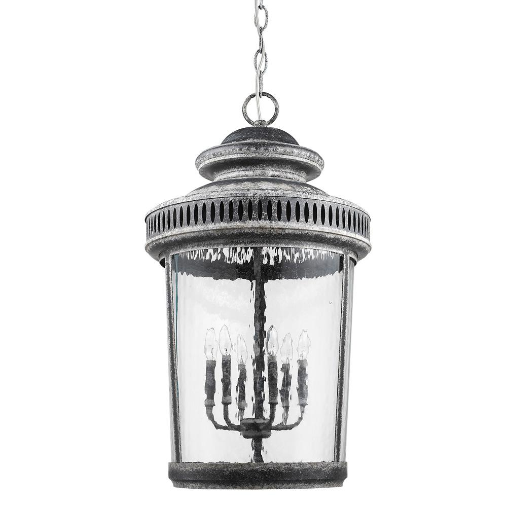 Acclaim Lighting Kingston 6 Light Antique Lead Foyer Pendant With Curved Water Gl Panes
