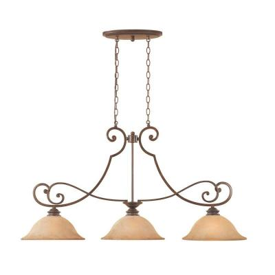 Mendocino 3-Light Forged Sienna Hanging Island Light